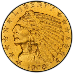 Obverse of Indian Head $5 Half Eagle