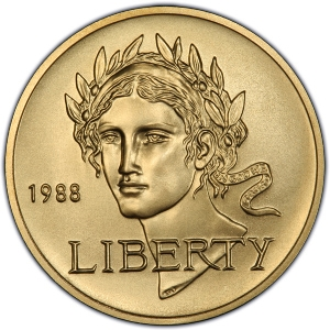Obverse of 1988 $5 Gold Commemorative