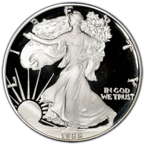 Obverse of 1988-S Silver American Eagle