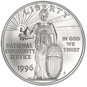 Obverse of 1996-S National Community Service Silver Dollar