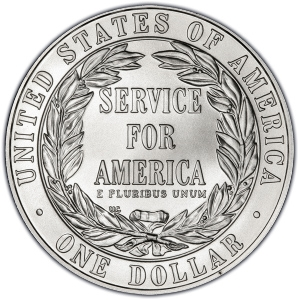 Reverse of 1996-S National Community Service Silver Dollar