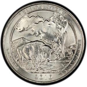 Reverse of 2010-D Quarter Dollar Yellowstone