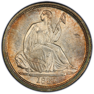 Obverse of 1837 No Stars Dime