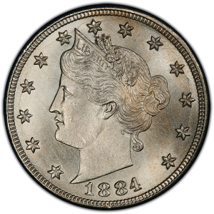 Obverse of 1884 Liberty Nickel