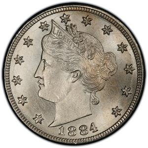 Obverse of 1884 Liberty Nickel