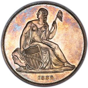 Obverse of 1836 Gobrecht Silver Dollar