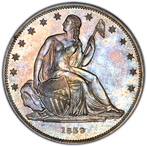 Obverse of 1839 Gobrecht Dollar