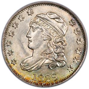 Obverse of 1829 Half Dime