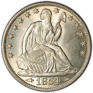 Obverse of 1854 Arrows at Date Half Dollar