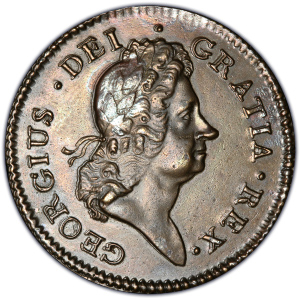 Obverse of 1722 Rosa Americana Penny