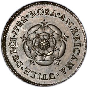 Reverse of 1722 Rosa Americana Penny
