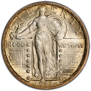 Obverse of 1918-D Standing Liberty Quarter Dollar