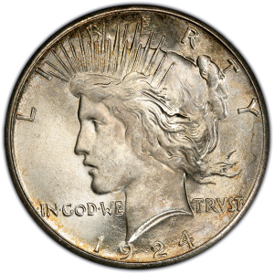 Obverse of 1924-S Peace Dollar