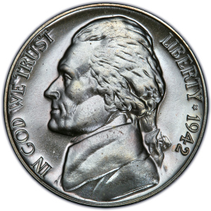 Obverse of 1942 Jefferson Nickel