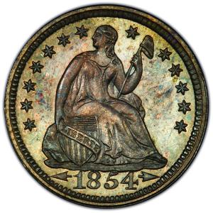 Obverse of 1854 Half Dime