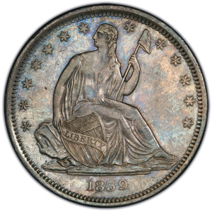 Obverse of 1839 No Drapery Half Dollar