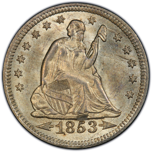 Obverse of 1853 Arrows and Rays Quarter Dollar