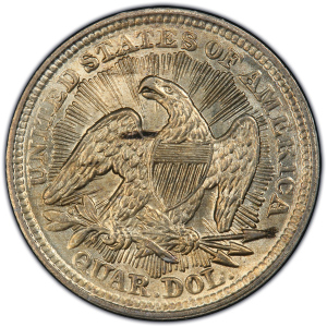 Reverse of 1853 Arrows and Rays Quarter Dollar