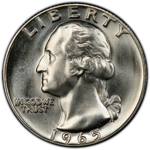 Obverse of 1965 Washington Quarter Dollar
