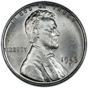 Obverse of 1943-D Lincoln Cent