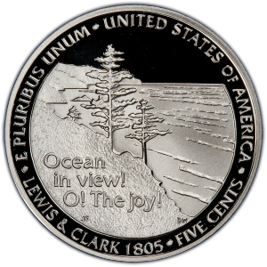 "Reverse of 2005-S ""Westward Waters"" Jefferson Nickel"