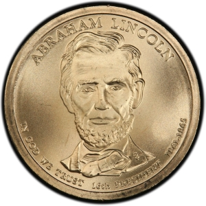 Obverse of Abraham Lincoln Presidential Dollar