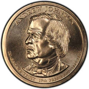 Obverse of Andrew Johnson Presidential Dollar
