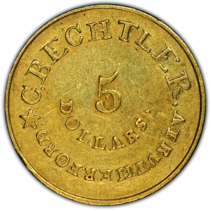 Reverse of Bechtler $5 gold piece