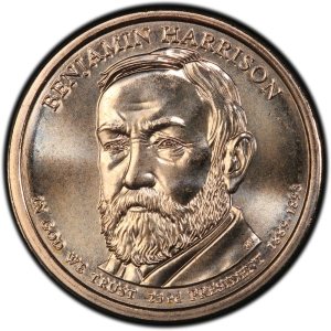 Obverse of Benjamin Harrison Presidential Dollar