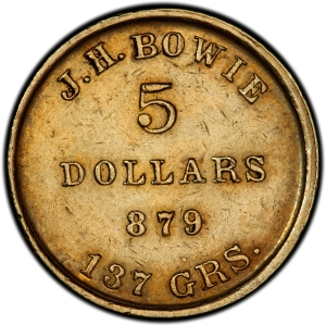 Reverse of 1849 J.H. Bowie $5