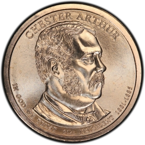 Obverse of Chester Arthur Presidential Dollar