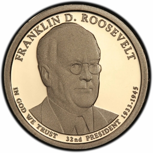 Obverse of 2014 Franklin Roosevelt Presidential Dollar