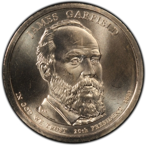 Obverse of James Garfield Presidential Dollar
