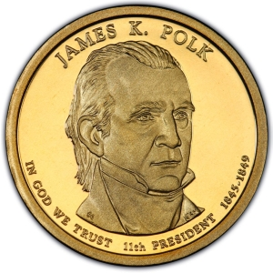 Obverse of James Polk Presidential Dollar