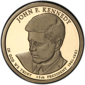 Obverse of Kennedy Presidential Dollar