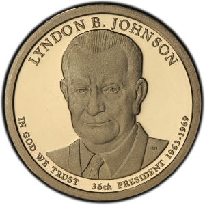 Obverse of Lyndon Johnson Presidential Dollar