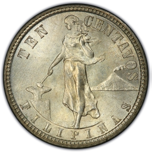 Obverse of 1907 Philippines Ten Centavos