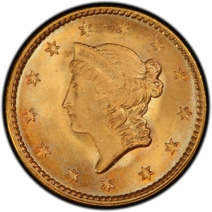 Obverse of 1851 Type 1 Gold Dollar