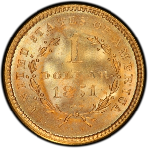 Reverse of 1851 Type 1 Gold Dollar
