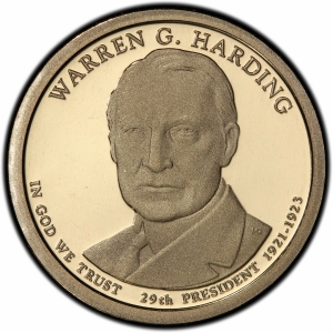 Obverse of 2014 Warren Harding Presidential Dollar