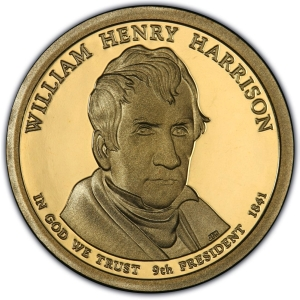 Obverse of William Henry Harrison Presidential Dollar