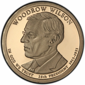 Obverse of 2013 Woodrow Wilson Presidential Dollar
