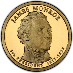 Obverse of 2008 James Monroe Presidential Dollar
