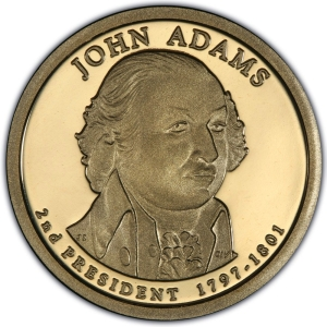 Obverse of 2007 John Adams Presidential Dollar