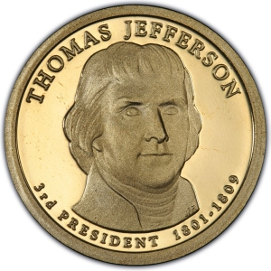 Obverse of 2007 Thomas Jefferson Presidential Dollar