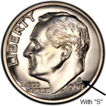 The 1968 No S Proof Dime