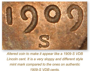 Counterfeit vs  Authentic 1909-S VDB Lincoln Cents
