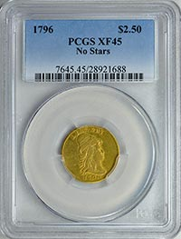 1796 $2.50 PCGS XF45 NO Stars Great Collections