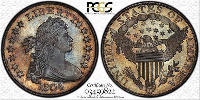 1804 Draped Bust Silver Dollar. Class I Original. BB-304. PCGS PR68