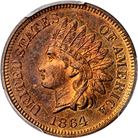 1864 Indian Cent. Bronze L on Ribbon PCGS PR65RB